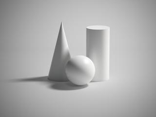 Paint primitives. 3d geometric figures: cone, sphere, cylinder