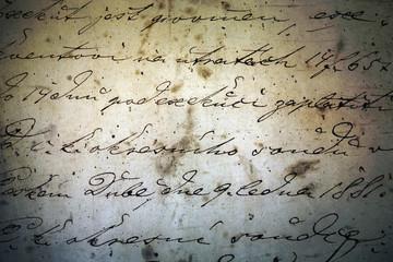 historical ink manuscript written by  hand