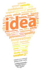 Bright Light Bulb Idea Word Cloud Concept Vector Illustration