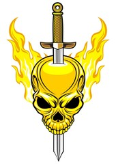 flaming skull and sword