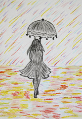 Girl with umbrella goes under a colored rain, pastel drawing