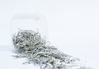 A lot of silver paper clip