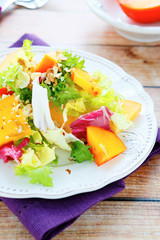 diet salad with persimmons