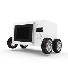 Microwave Oven on Wheels isolated on white background