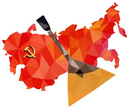 Soviet Union, USSR, map with flag, balalaika