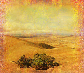 Fotobehang Fantasie Landschap grunge paper with the landscape - Mountain in Fuerteventura
