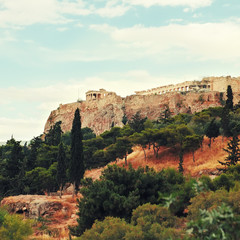 View of the Acropolis, Athens, Greece.Reconstruction of the Acro