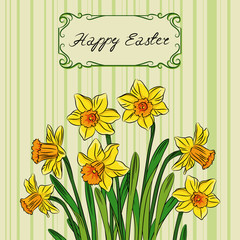 Card with easter daffodil in center and frame
