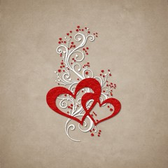 Hearts and swirls on paper background