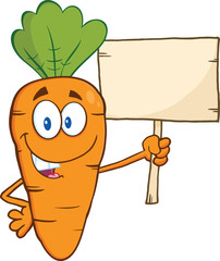 Funny Carrot Cartoon Character Holding A Wooden Board