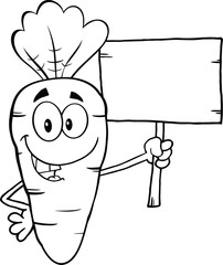 Black And White Funny Carrot Character Holding A Wooden Board