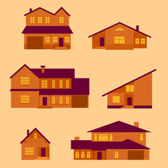 vector set of flat houses icon