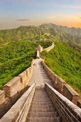 Fotobehang Chinese Muur Great Wall of China during sunset