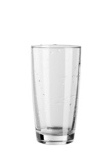 empty glass with drops isolated on white background