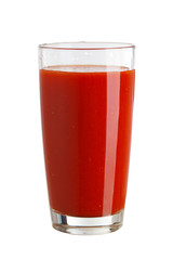 Tomato juice in a glass isolated on white background