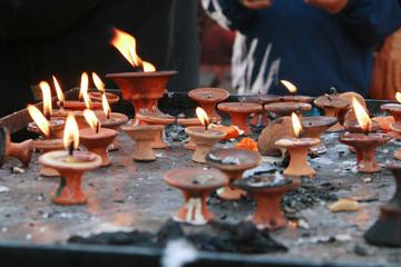 Candles at Kathmandu Dubar Square, Nepal