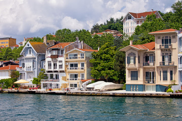Waterfront Houses Along The Bosphorus Strait
