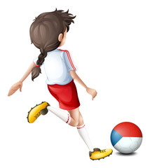 A female athlete using the ball with the Czech Republic flag