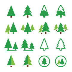 Pine tree, park vector green icons set
