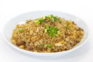 asian food fried rice with pork and egg