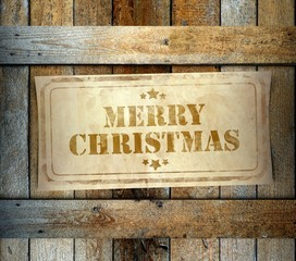 Stamp Merry Christmas label old wooden box