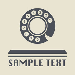Vintage telephone disk icon or sign, vector illustration