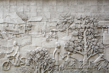 Stucco wall image of urban thai lifestyle traditional