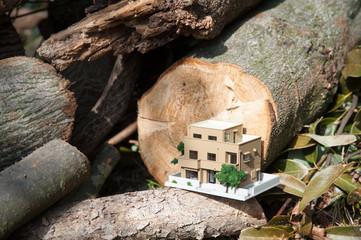 大木の丸太とマイホーム
