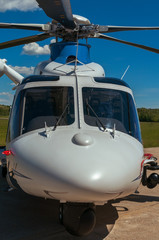 Helicopter on  an airfield