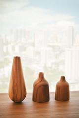 Vase wood on table decorate design