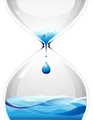 Hourglass with dripping water