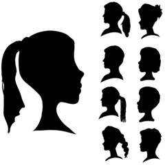 Vector silhouettes of different faces.