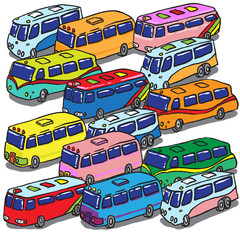 Various Buses. Vector Illustration
