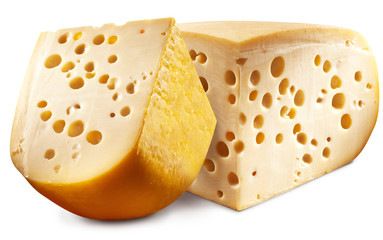Wall Mural - Two pieces of Emmental cheese head.
