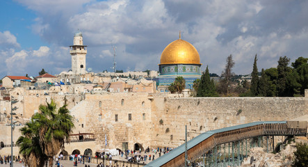 Jerusalem, panorama of Wailing wall and Mousque of Al-aqsa