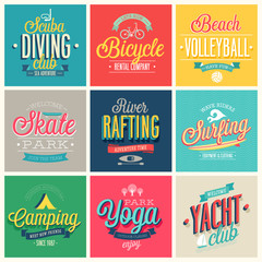 Wall Mural - Summer sports set - labels and emblems.