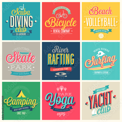 Wall mural Summer sports set - labels and emblems.