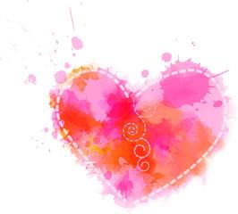 Watercolor heart symbol