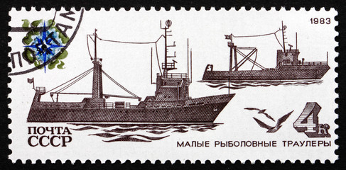 Postage stamp Russia 1983 Two Trawlers