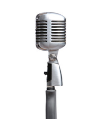 Close up of silver microphone, isolated on white