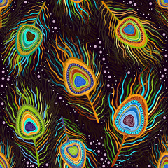 "Seamless pattern ""Peacock feathers"""