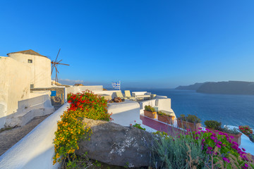 Wall Mural - Greece Santorini island in cyclades famous windmills in Fira