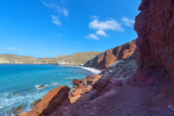 Fototapete - Greece Santorini island in cyclades wide view of sea water by ro
