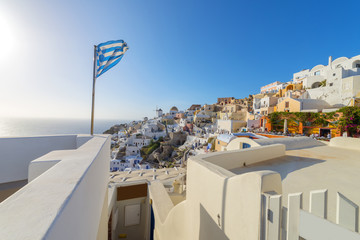Wall Mural - Greece Santorini Island in Cyclades, the most famous sunset of t