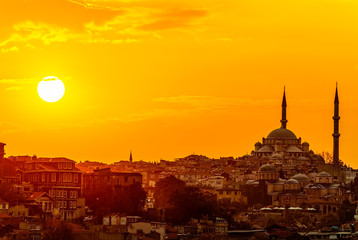Photo sur Aluminium Moyen-Orient Istanbul sunset