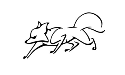 Line drawing of a fox on white background