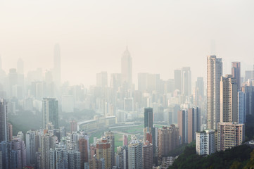 Air pollution hangs over Hong Kong Island