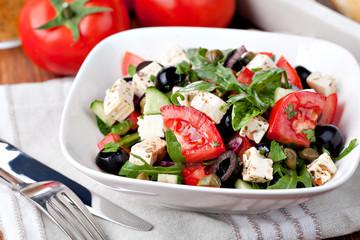 Greek vegetable salad with feta cheese