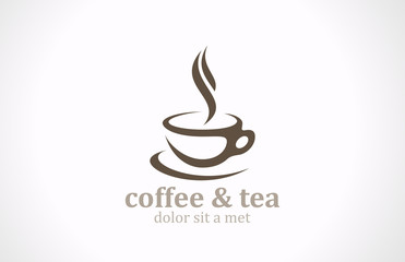 Coffee Tea Cup logo vector design. Cafe emblem icon