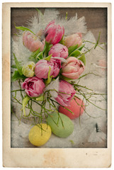 easter tulip flowers bouquet with eggs. vintage postcard
